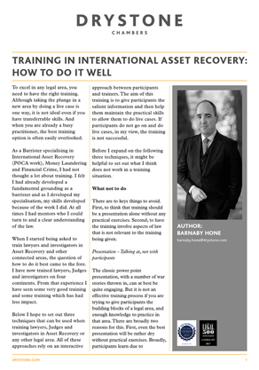 Barnaby Hone on training in International Asset Recovery