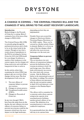 The Criminal Finance Bill