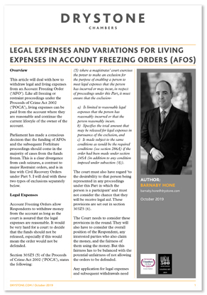 Legal Expenses and variations