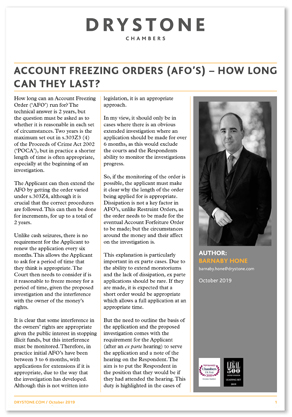Account Freezing Orders (AFO's) – how long can they last
