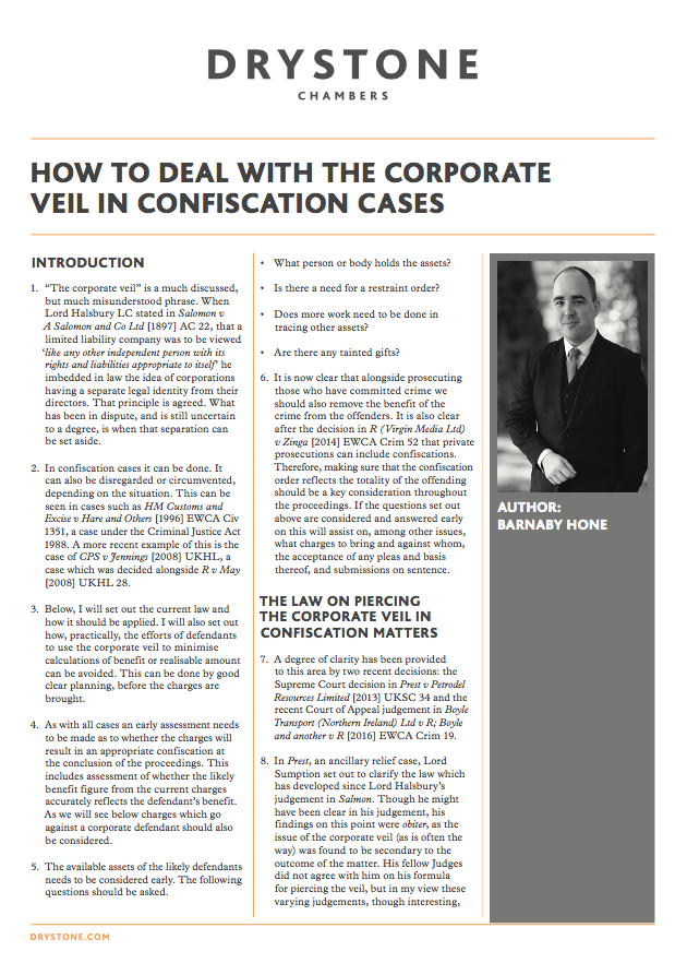 How to deal with the 'Corporate veil' in confiscation cases