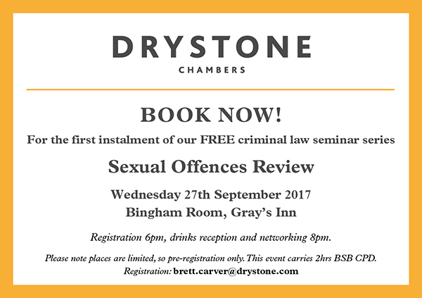 Drystone Sexual Offences Review Seminar Invite