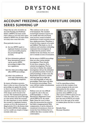 BMH_Account Freezing and Forfeiture Order Series summing up