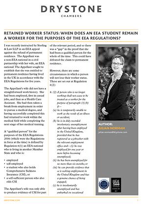 Julian Norman on Retained Worker Status